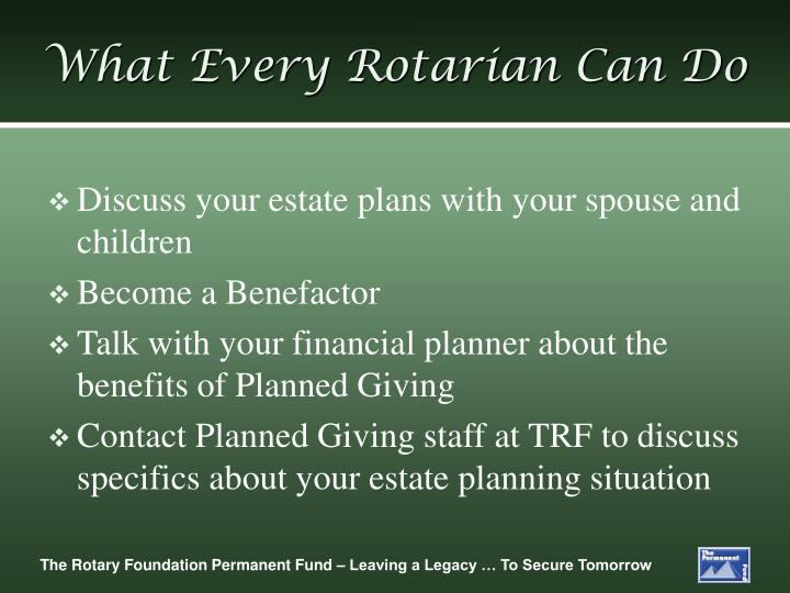 What Every Rotarian Can Do