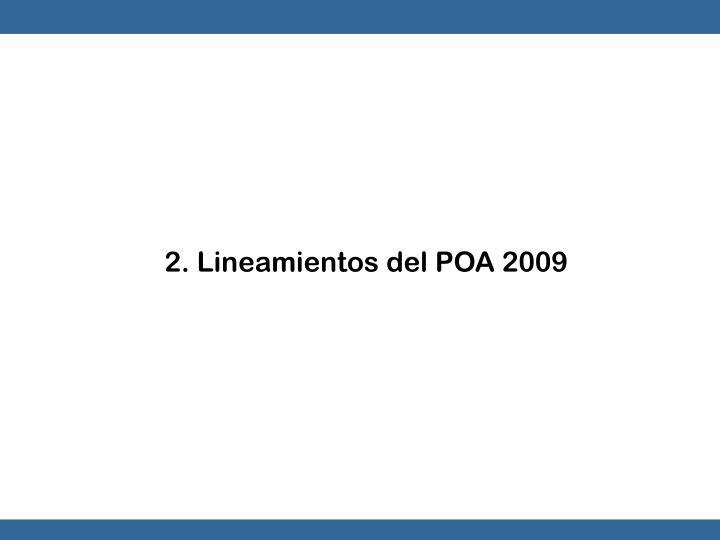 2. Lineamientos del POA 2009
