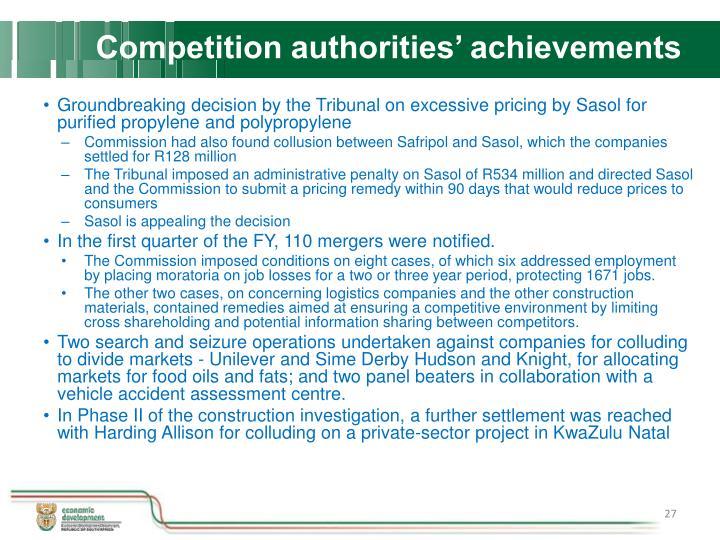 Competition authorities' achievements