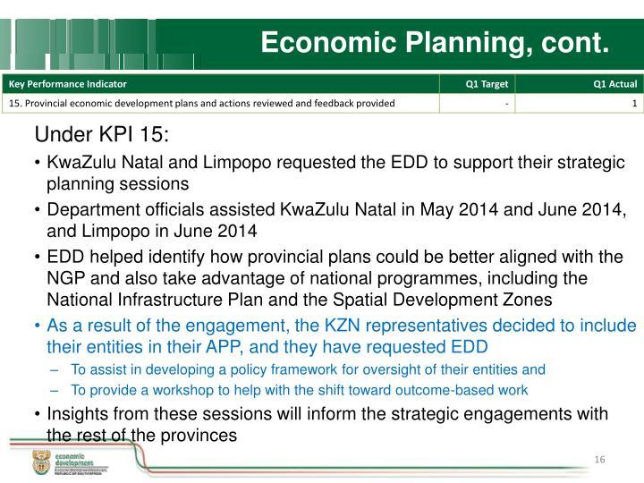 Economic Planning, cont.