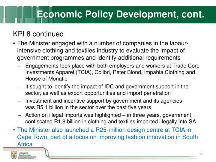 Economic Policy Development, cont.