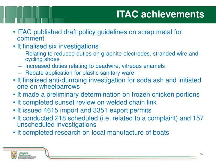 ITAC achievements
