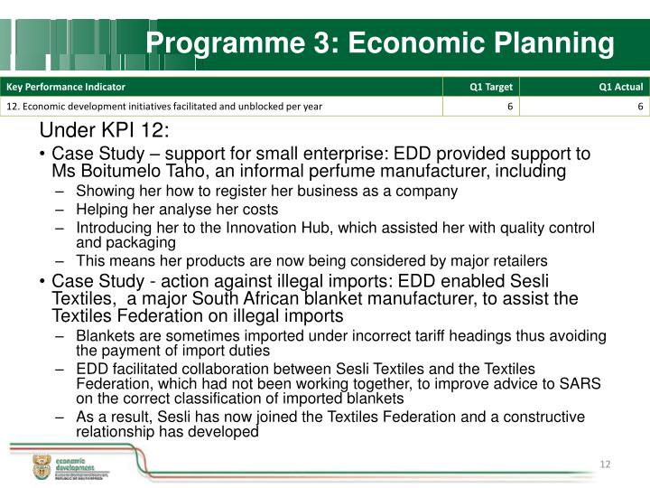 Programme 3: Economic Planning