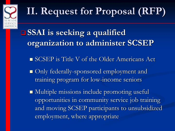 II. Request for Proposal (RFP)