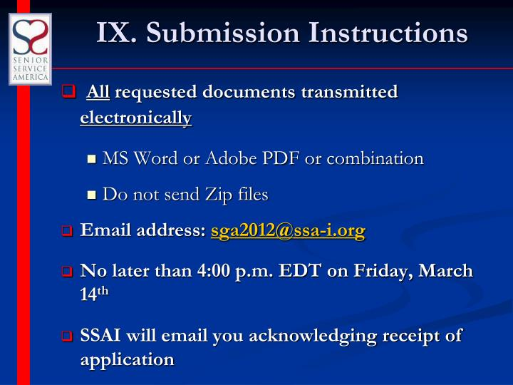 IX. Submission Instructions