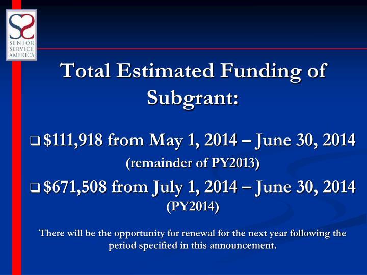 Total Estimated Funding of Subgrant: