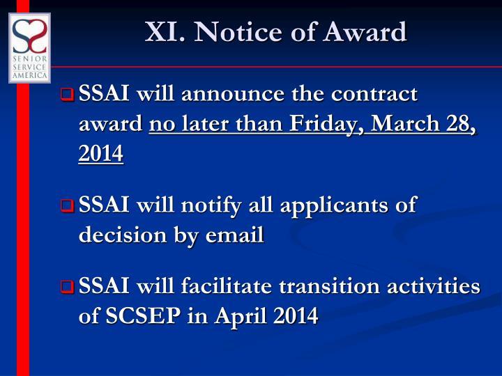 XI. Notice of Award
