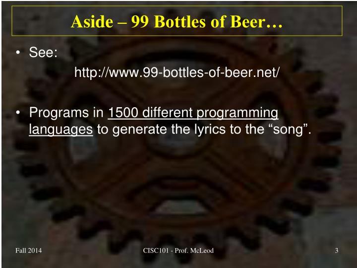 Aside 99 bottles of beer