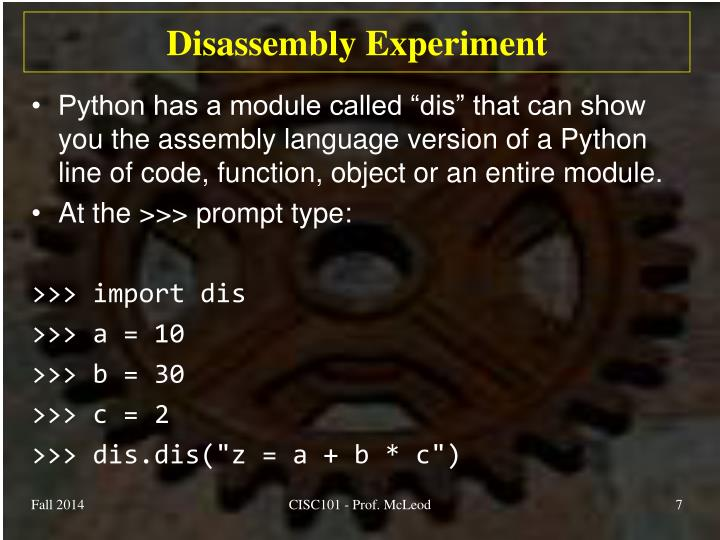 Disassembly Experiment