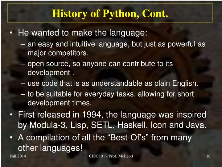 History of Python, Cont.