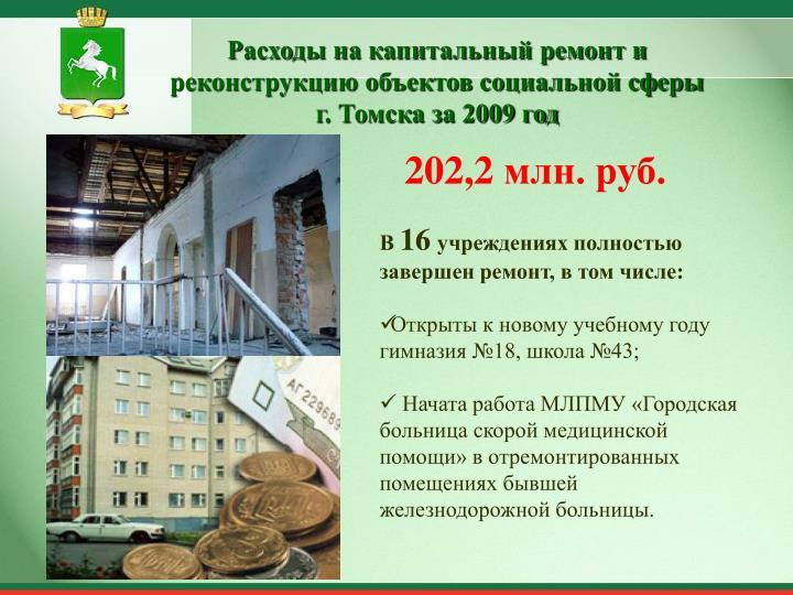 Расходы на капитальный ремонт и реконструкцию объектов социальной сферы г. Томска за 2009 год