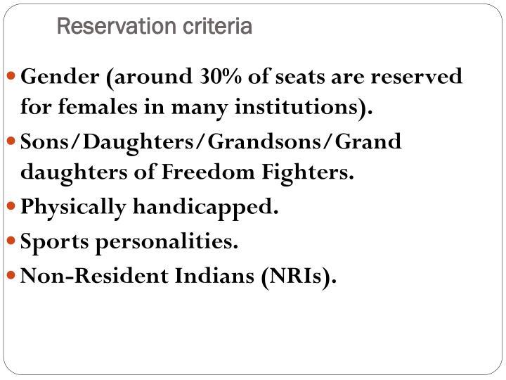 Reservation criteria