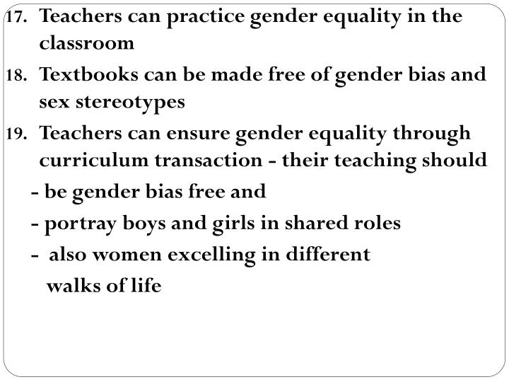 Teachers can practice gender equality in the classroom