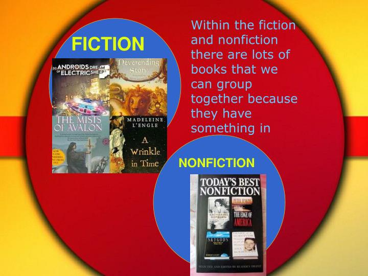 Within the fiction and nonfiction  there are lots of books that we can group together because they h...