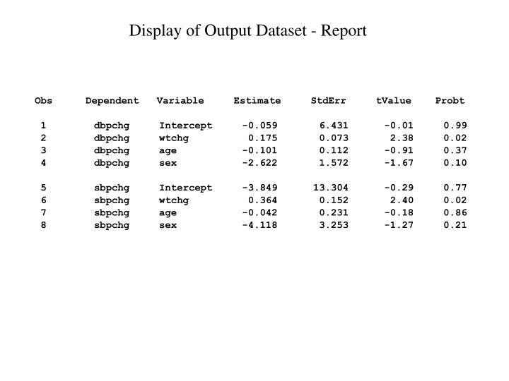 Display of Output Dataset - Report