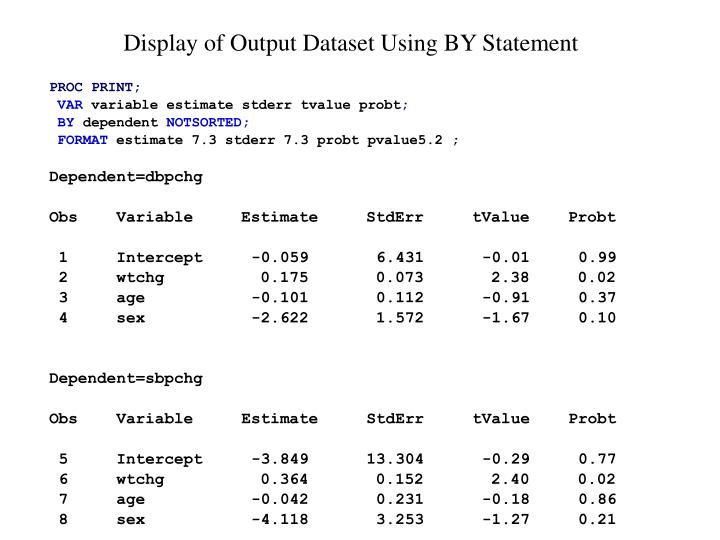 Display of Output Dataset Using BY Statement