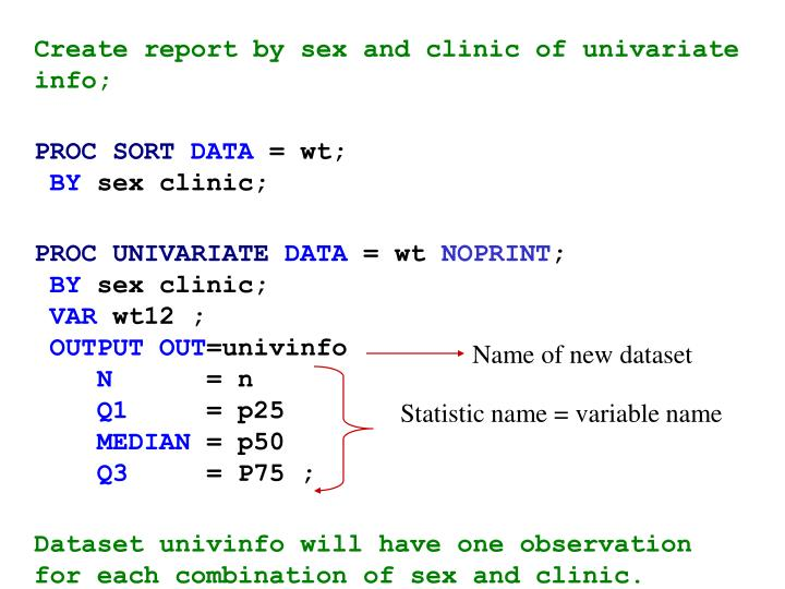 Create report by sex and clinic of univariate info;