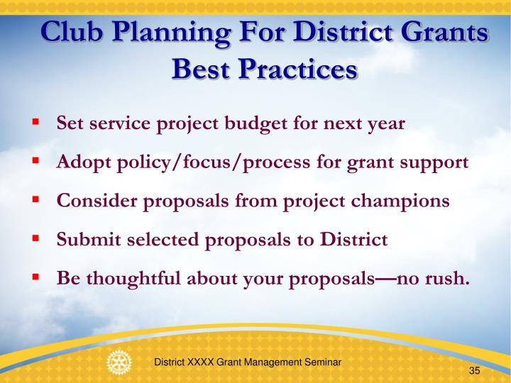 Club Planning For District Grants