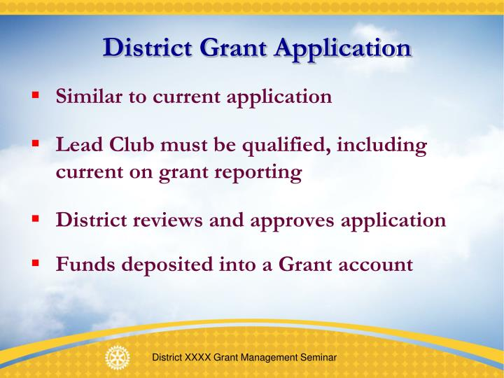District Grant Application