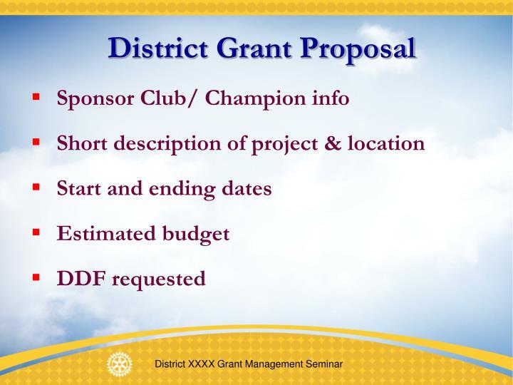 District Grant Proposal