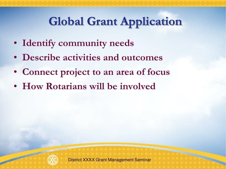 Global Grant Application