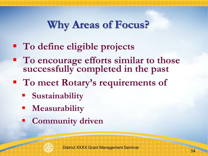 Why Areas of Focus?
