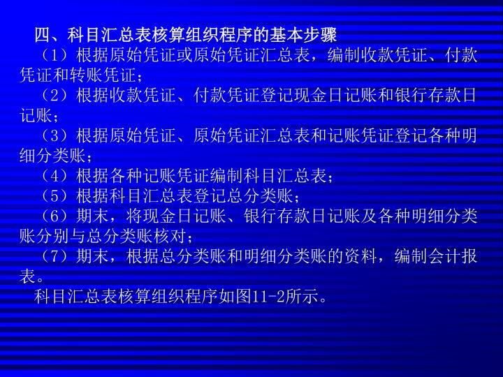 四、科目汇总表核算组织程序的基本步骤