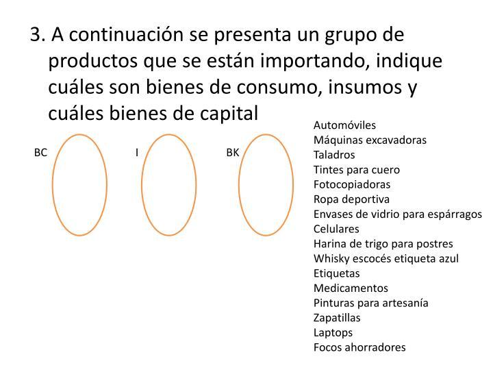 3. A continuación se presenta un grupo de productos que se están importando, indique cuáles son bienes de consumo, insumos y cuáles bienes de capital