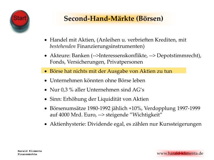 Second-Hand-Märkte (Börsen)