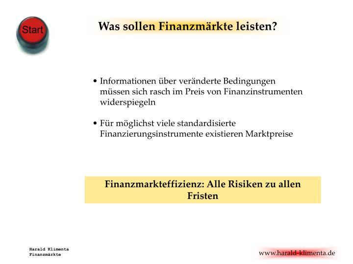 Was sollen Finanzmärkte leisten?