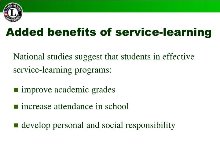 Added benefits of service-learning