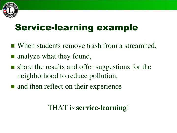 Service-learning example