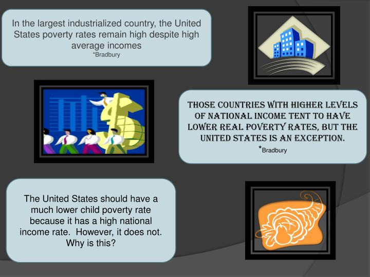 In the largest industrialized country, the United States poverty rates remain high despite high aver...