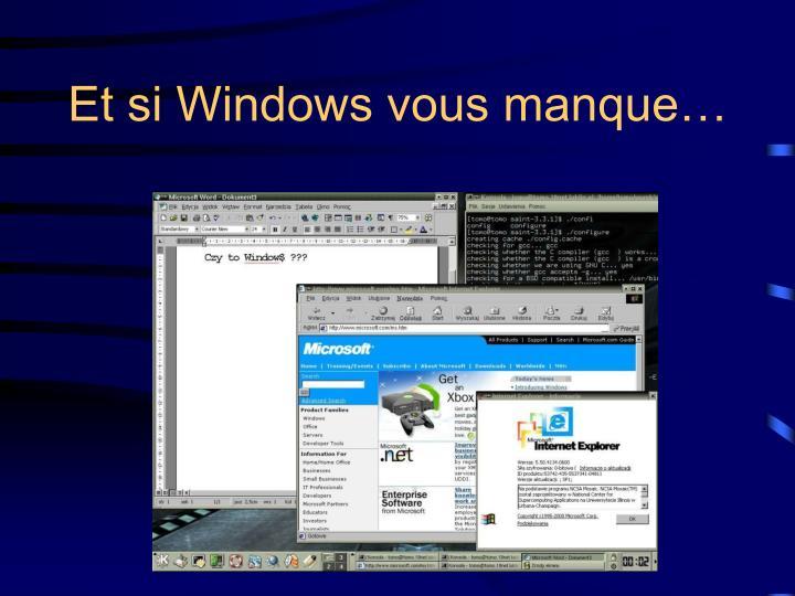 Et si Windows vous manque…