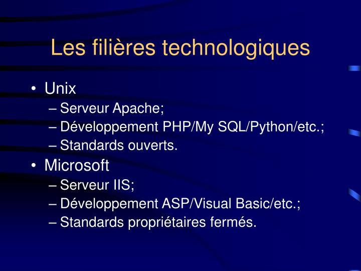Les filières technologiques