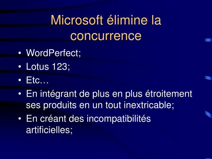 Microsoft élimine la concurrence