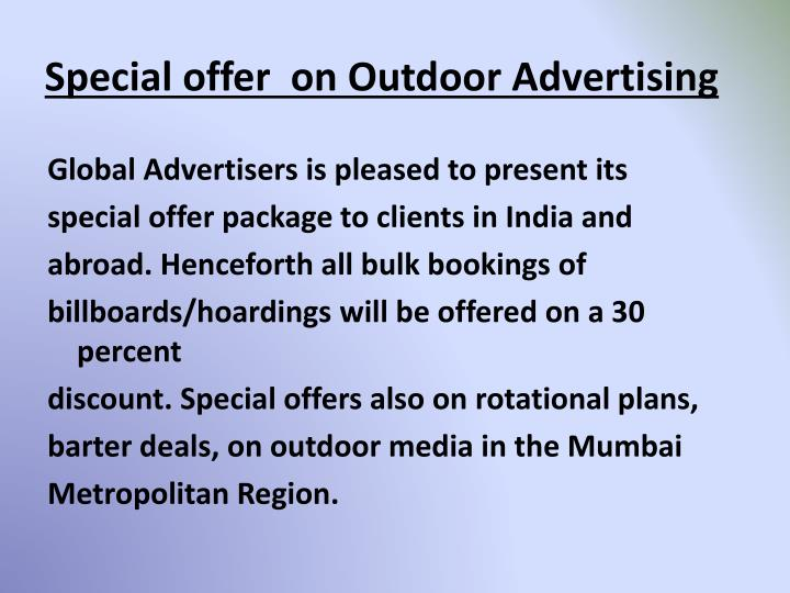 Special offer on outdoor advertising1