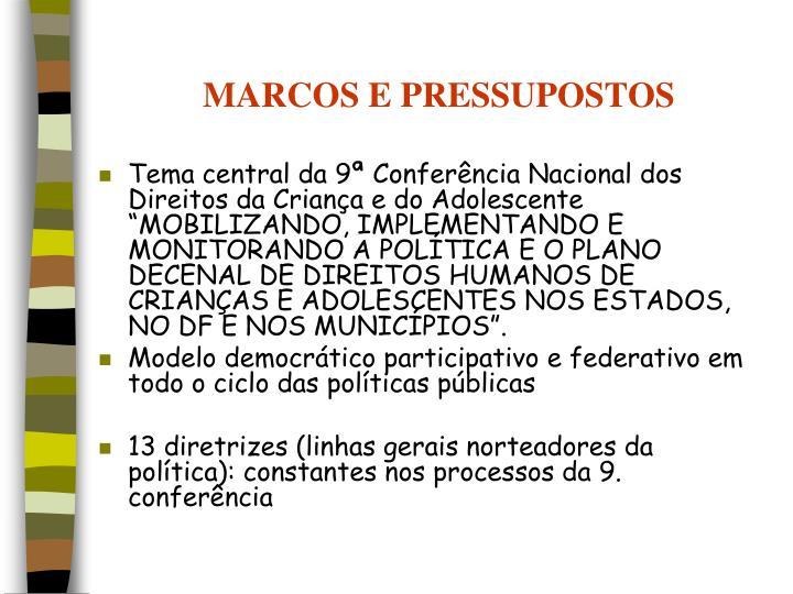 MARCOS E PRESSUPOSTOS