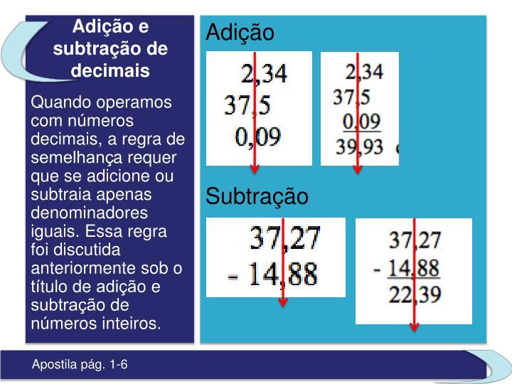 Adição e subtração de decimais