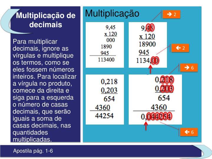 Multiplicação de decimais