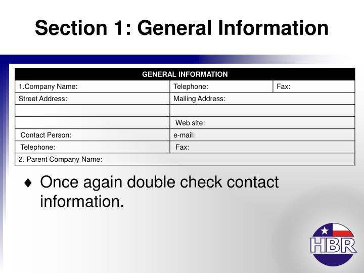 Section 1: General Information