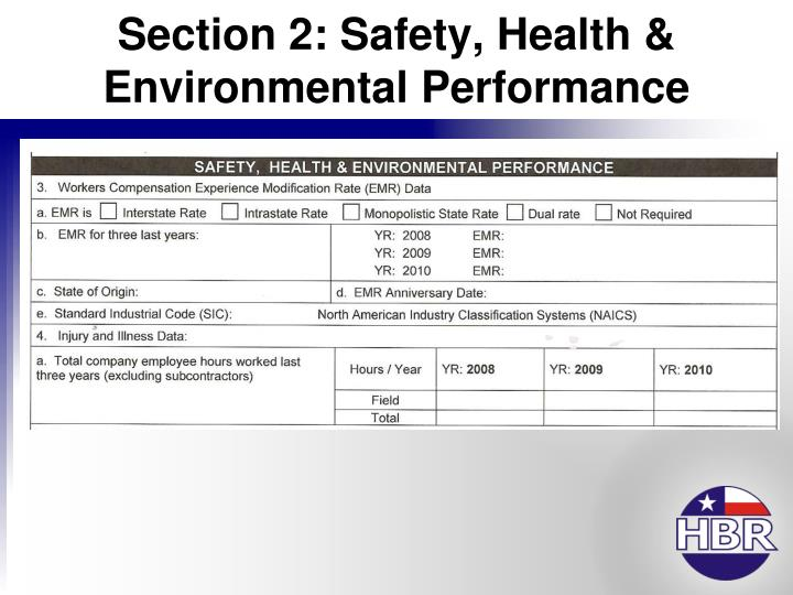 Section 2: Safety, Health & Environmental Performance