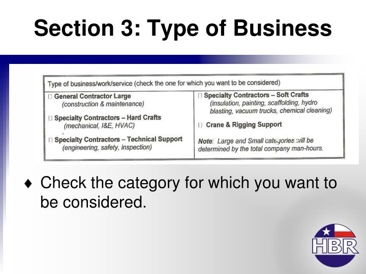 Section 3: Type of Business