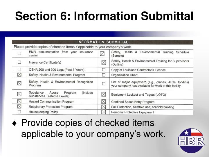 Section 6: Information Submittal