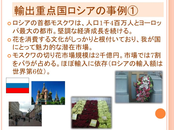 輸出重点国ロシアの事例①