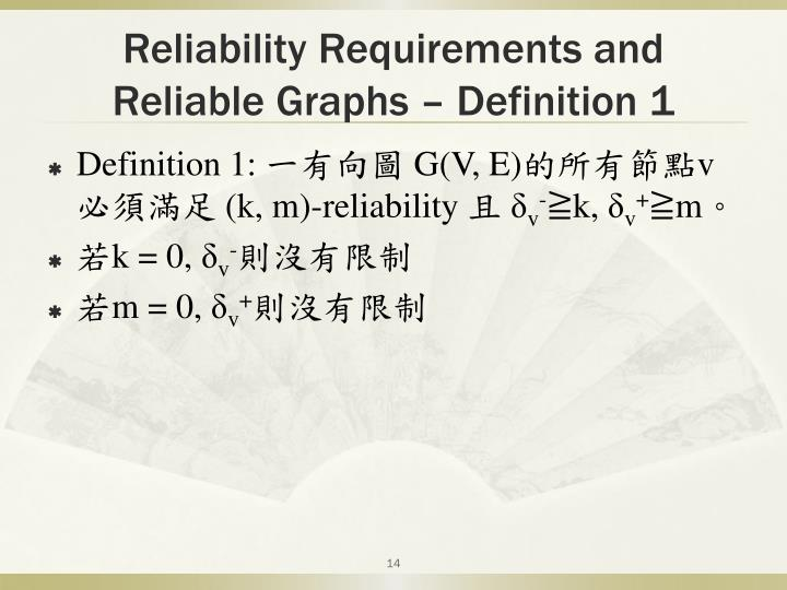 Reliability Requirements and Reliable