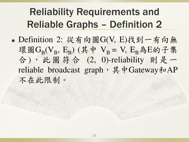 Reliability Requirements and Reliable Graphs – Definition