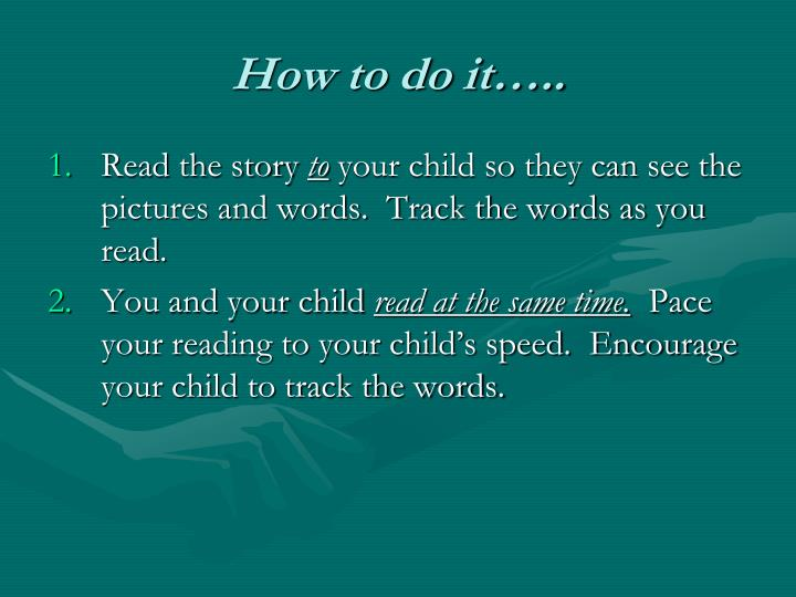 How to do it…..