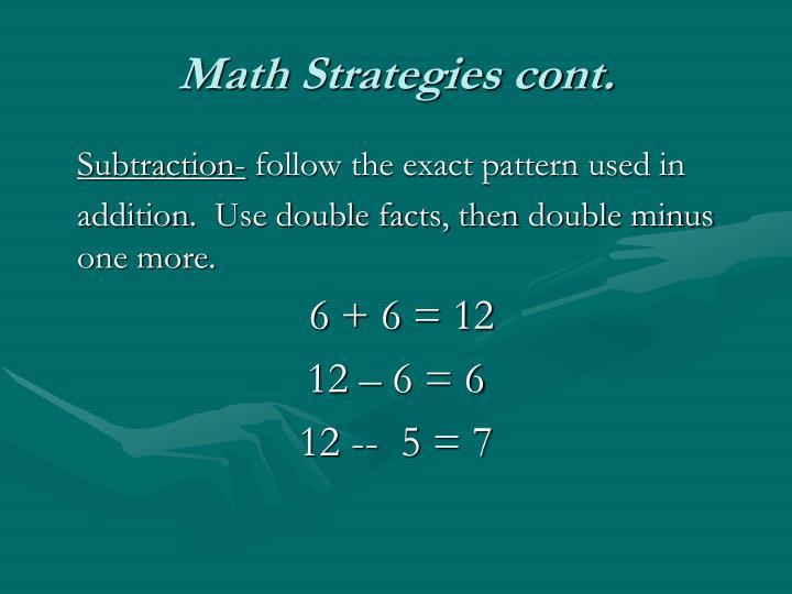 Math Strategies cont.