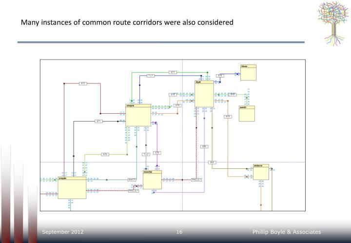 Many instances of common route corridors were also considered
